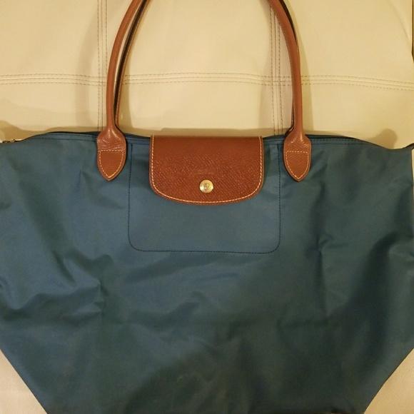 334f9bde68e07 Longchamp Handbags - Longchamp Large Le Pliage Peacock blue