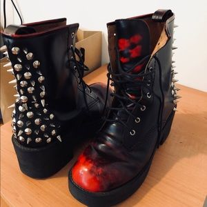 Jeffrey Campbell Red/Black Ombré military boots