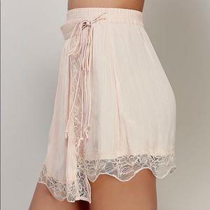 FP Pink Lace Side Tie Slip Skirt