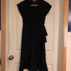 Faux wrap black dress