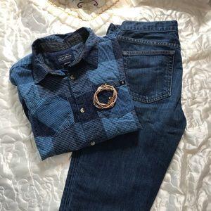 Lucky Brand the original plaid Shirt EUC
