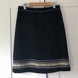 LOFT Black Wool Trimmed Pencil Skirt Size 2