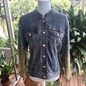 Chico's Platinum Sequined Jean Jacket
