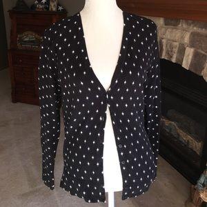 Merona black knit cardigan with cream diamonds