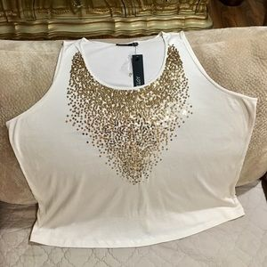 APT9 New w/tag Cream Top w/Gold sequence designing