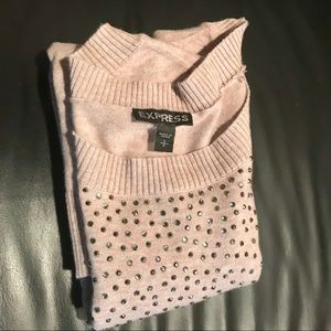 EXPRESS tan Sweater with silver detail
