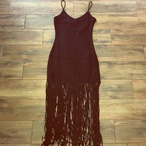 Black, suede maxi dress