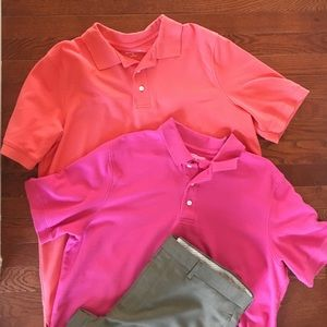 Men's Slim Fit Polos in Pink and Orange