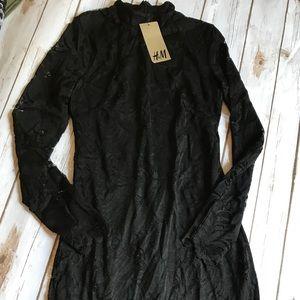 H&M black lace dress, high neck, size 6, NWT