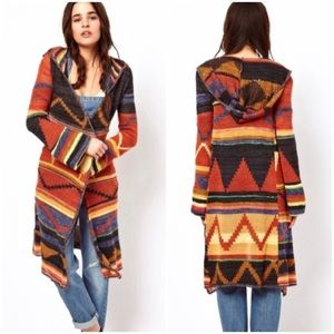 Free People Fall Long Open Cardigan with Hood