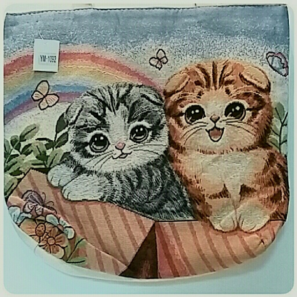 Handbags - Tapestry Rainbow Cats Large Canvas Tote Bag NWT's