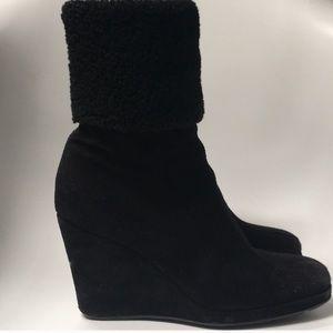 Prada black suede platform boots (authentic)