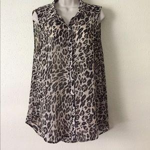 H&M Animal Print Sheer Sleeveless Collared Top