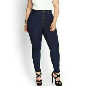 Forever 21 Plus Dark Blue Indigo Skinny Jeans 14
