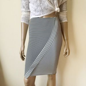 ZARA Asymmetric Black and White Striped Skirt.
