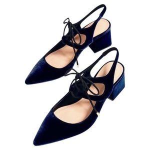 Zara Navy Velvet Tie- Up Slingback Heel