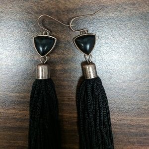 Long string dangle earrings