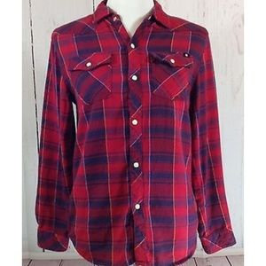 Lucky Brand Red Plaid Snap Front Shirt Large