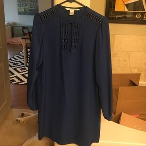 DVF blue silk dress with gold detailing