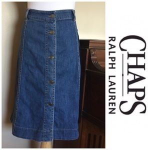 nwt chaps size 20w denim jean skirt with buttons