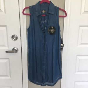 • NWT YMI Chambray Denim Sleeveless Dress •