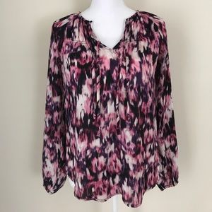 [Vera Wang] Pink & Purple sheer career blouse