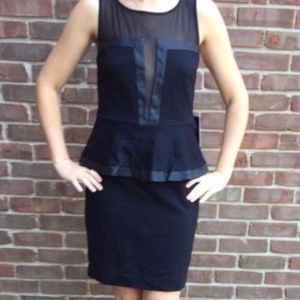 NWT Express Cut Out Black/Faux Leather Dress, 8