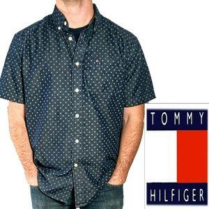 Hilfiger classic fit blue button down short sleeve