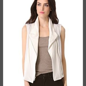 Vince IVORY leather and linen vest XS