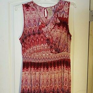 Red tribal print maxi dress, sz 22/24