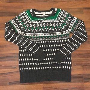 /merona/ gray and green geometric print sweater.