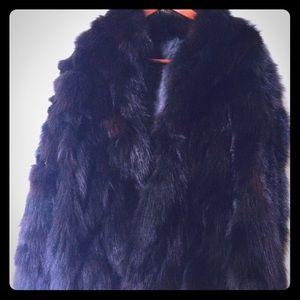 Jackets & Blazers - SABLE FUR COAT BLACK