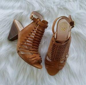 Vince Camuto strappy cognac block heels