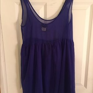 Free People Blue Sheer Mini Dress