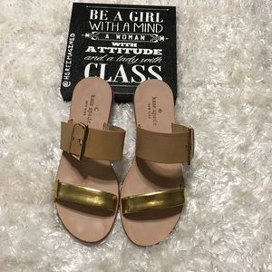 Kate Spade ♠️ slide sandals size 6 tan and gold
