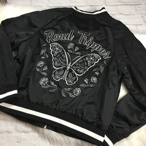 New Black Butterfly Embroidered Bomber Jacket