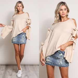 Open Shoulder Sweater- TAUPE