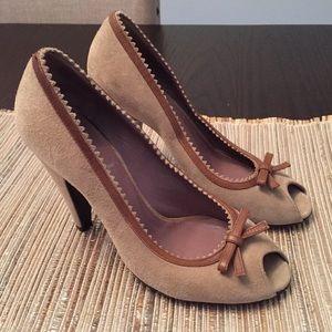 MIU MIU Suede Peep Toe Bow Heels Pump Shoes 36.5