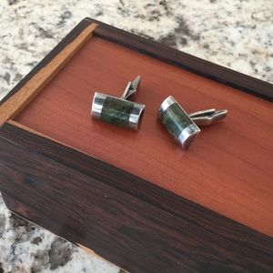 Other - Sterling silver and green agate cufflinks
