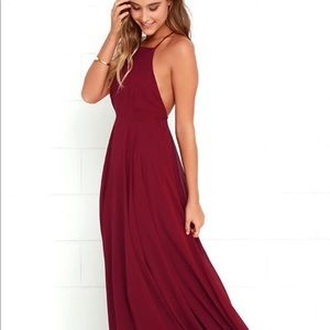 backless red maxi dress
