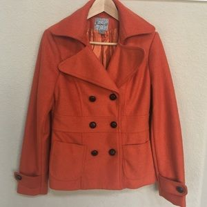 Forever 21 Orange Pea Coat