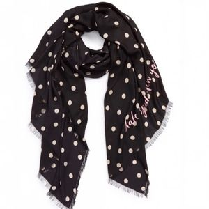Kate Spade Deco Dot Scarf With Pink Letting