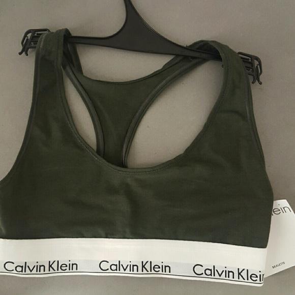 fefbf768bcf Calvin Klein Small Olive Green Sports Bra Bralette