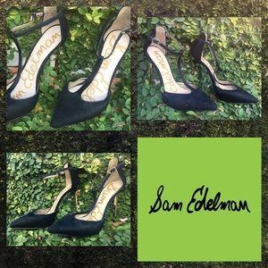 (7.5) Sam Edelman black fur high heels, gold heel