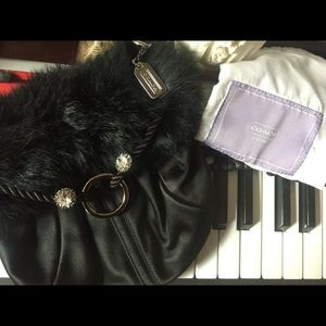 Limited Edition Coach Purse black satin fur trim