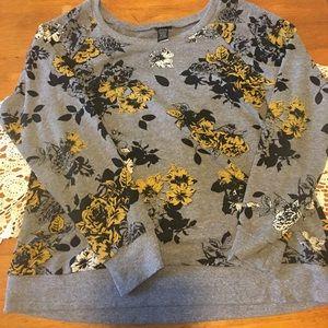 Torrid mustard floral print pullover sweater