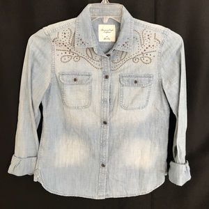 American Eagle Denim Embellished Shirt