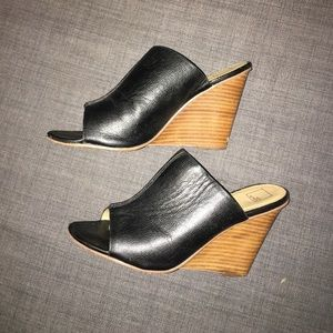 Nordstrom's black exposed toe wedges - Size 8.5