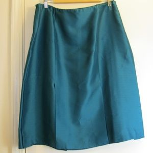 Talbots Petites Pure Silk Green Midi Skirt - 16W
