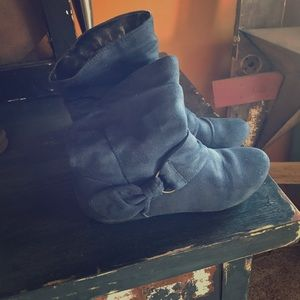 Blue Suede Above Ankle Boots 6